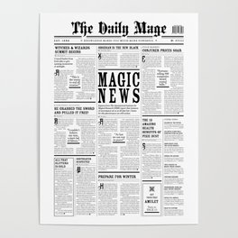 The Daily Mage Fantasy Newspaper Poster