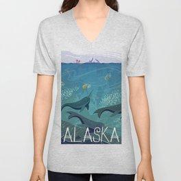 Alaska State Poster Unisex V-Neck