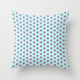 Pink and burgundy flowers on blue Throw Pillow