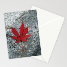 Japanese maple leaf on Rock Stationery Cards