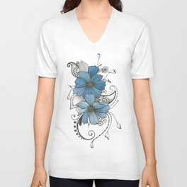 Blue flowers Unisex V-Neck