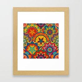 Funky Retro Pattern Mandalas Framed Art Print