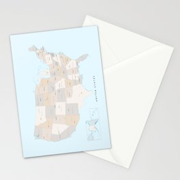 "Map of the USA with states and state capitals, ""Keane"" Stationery Cards"