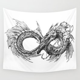 Ouroboros mythical snake on transparent background | Pencil Art, Black and White Wall Tapestry