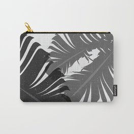Tropical Leaf Silhouette in Gray Palette Carry-All Pouch