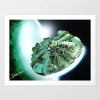 Art Print featuring Millennium Falcon - The Bright Centre of The Universe by jcalum2012
