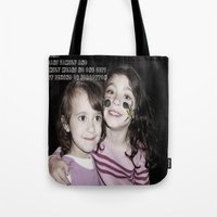 ohana Tote Bags featuring SISTERS|||OHANA by Smile_Error