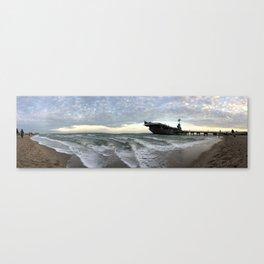USS Lexington on the Beach Canvas Print
