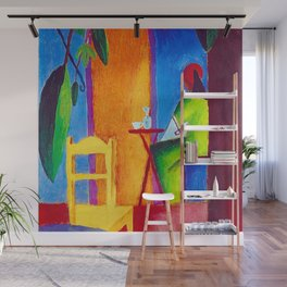 The Sad Cafe tropical still life portrait painting Wall Mural