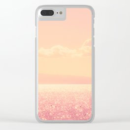 Dreamy Champagne Pink Sparkling Ocean Clear iPhone Case