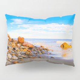 sandy beach with blue cloudy sky in summer Pillow Sham