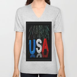 Patriotic USA Sparkler   Unisex V-Neck