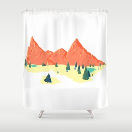 Pink Mountainscape Shower Curtain