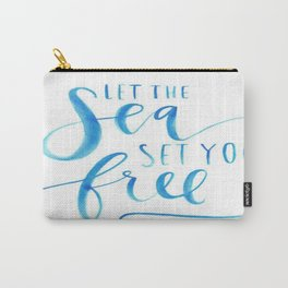 Sea Ocean Love Blue Watercolor Brushstroke Calligraphy  Carry-All Pouch
