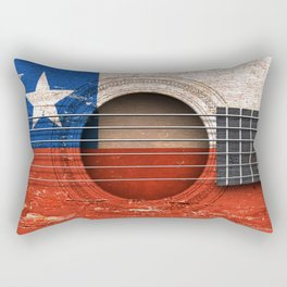 Old Vintage Acoustic Guitar with Chilean Flag Rectangular Pillow