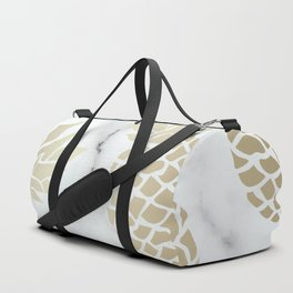 Tropical Pineapple, Marble and Gold Abstract Pattern Duffle Bag