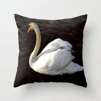 swan Throw Pillows featuring swan by Cindy Munroe Photography