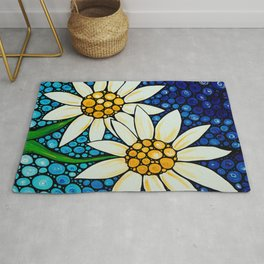 Bathing Beauties - Two best friends...white daisies...by Sharon Cummings.  Labor of Love series. Rug