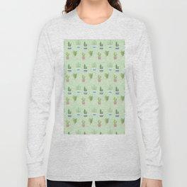 Modern pastel green pink trendy cactus floral pattern Long Sleeve T-shirt