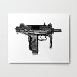 8bit glitch Uzi-Micro Metal Print