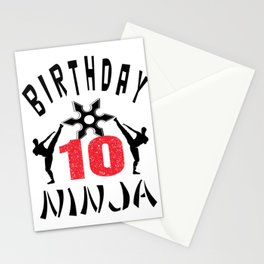 Kids Ninja 10th B-Day Gifts for Boys And Girls Stationery Cards