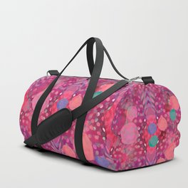 """""""Abstract polka dots in pink and pastel colors"""" Duffle Bag"""