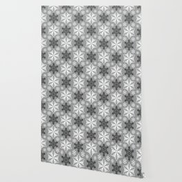 Festive Gray and White Snowflake Pattern Wallpaper