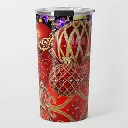 RED-GOLD CHRISTMAS TREE ORNAMENTS SNOWFLAKE ART Travel Mug