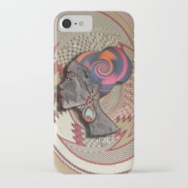 African woman profile on a woven basket iPhone Case