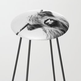 Black and White Highland Cow Portrait Counter Stool