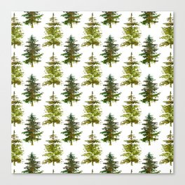 Hand painted green forest green watercolor trees motif Canvas Print