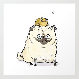 Bug Off, AKA, Pug and Toad are Friends Art Print
