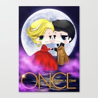 captain swan Canvas Prints featuring OUAT - Chibi Captain Swan Dance by Yorlenisama