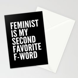 Feminist is My Second Favorite F-Word (Black) Stationery Cards