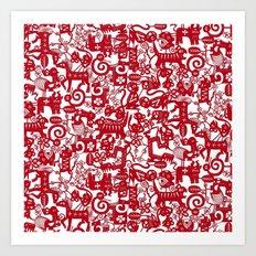paper zodiac red Art Print