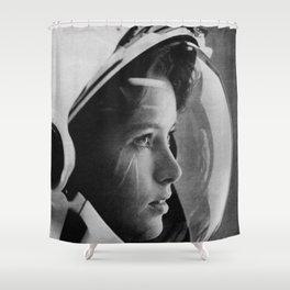 NASA Astronaut, Anna Fisher, black and white photograph Shower Curtain