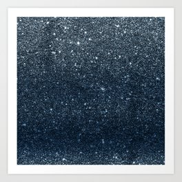 Elegant luxury trendy navy blue glitter sparkles Art Print