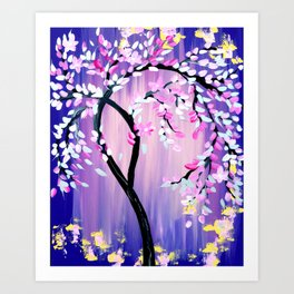 Purple and Pink Cherry Blossom Tree Art Print