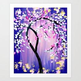 Purple and Pink Cherry Blossom Tree Art Print