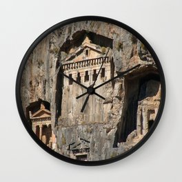 Lycian Tombs Cut From Rock Circa 400 BC Wall Clock