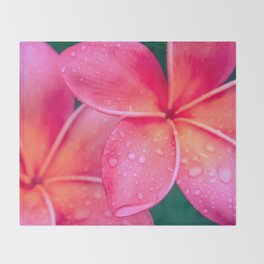 Aloha Hawaii Kalama O Nei Pink Tropical Plumeria Throw Blanket