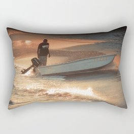 Fisherman on Sunset Coast Rectangular Pillow