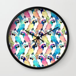 Modern Colorful Exotic Parrot Birds Watercolor Paint  Wall Clock