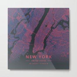 New York, United States - Neon Metal Print