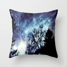 Black Trees Indigo Blue Space Throw Pillow