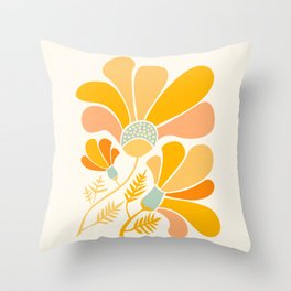 Summer Wildflowers in Golden Yellow Throw Pillow