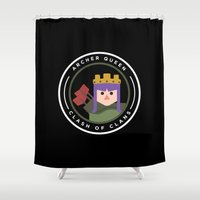 archer Shower Curtains featuring Archer Queen by chiams