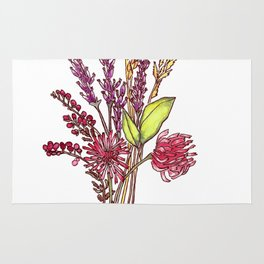 Wild Flower Bouquet Watercolor Painting Rug
