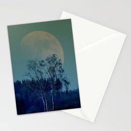 Concept landscape : Moon behind the tree Stationery Cards