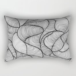 Black Swirl Lines Rectangular Pillow